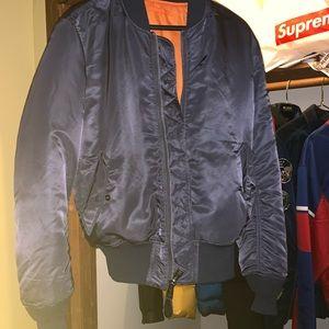 Gray alpha industries bomber jacket ORANGE INSIDE